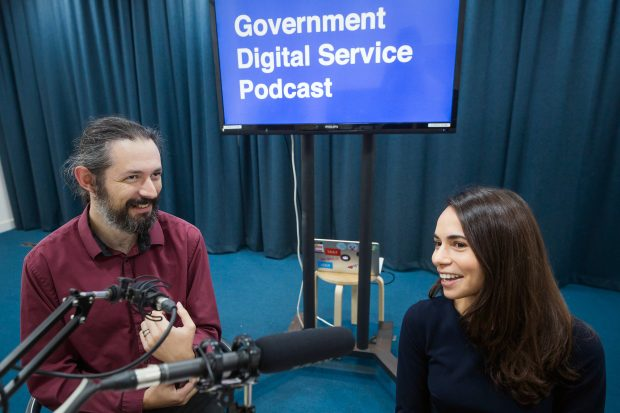 Terence Eden and Sarah Stewart recording the podcast