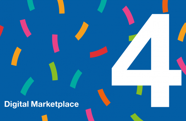 An image saying Digital Marketplace and the number 4, with confetti around it
