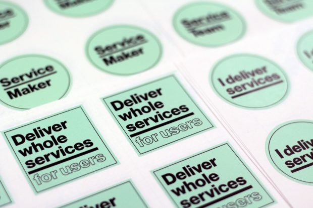 "A sheet of Service Week stickers. One says ""Service maker"", another says ""Deliver whole services for users"" and a third says ""I deliver services"""