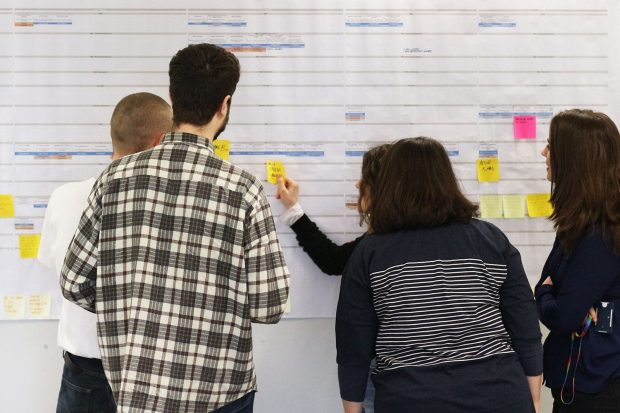 Four people looking at a service map and sticking post it notes to it