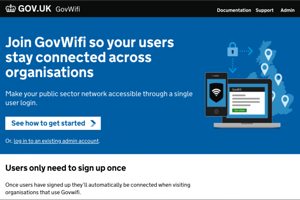 A screengrab of the GovWifi service. The text reads: Join GovWifi so your users stay connected across organisations. Make your public sector network accessible through a single user login. See how to get started.