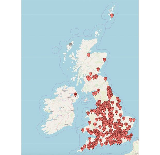 A map of the UK with dozen of red marks on it showing the locations of organisations that have GovWifi