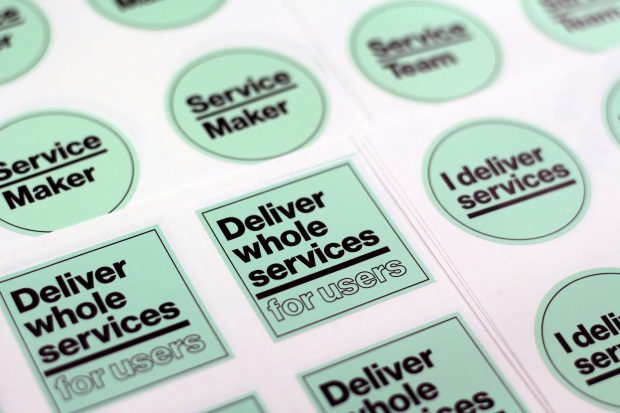 A sticker with 'deliver whole services for users' written on it