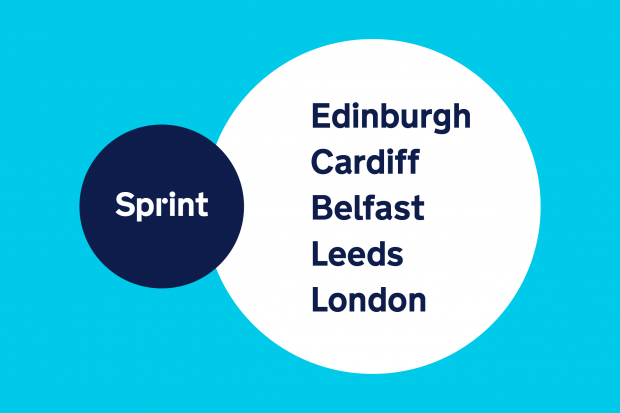 A graphic reading Sprint Edinburgh, Cardiff, Belfast, Leeds and London