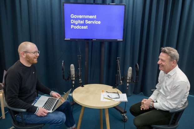 Angus Montgomery (GDS Senior Creative Writer) and Kevin Cunnington (GDS Director General) in the recording studio