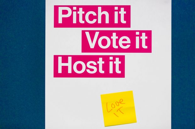 A poster that says 'Pitch it, vote it, host it, love it'