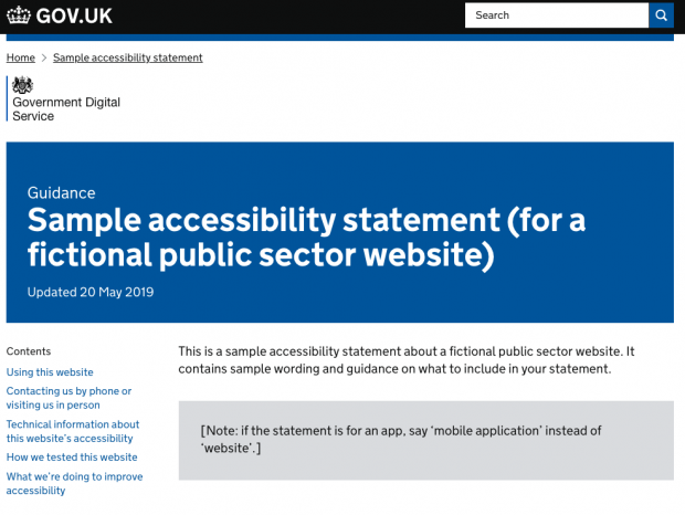 A screen shot of the page with the sample accessibility statement. The title of the page is 'Guidance: Sample accessibility statement (for a fictional public sector website'. The first paragraph says: 'This is a sample accessibility statement about a fictional public sector website. It contains sample wording and guidance on what to include in your statement.'