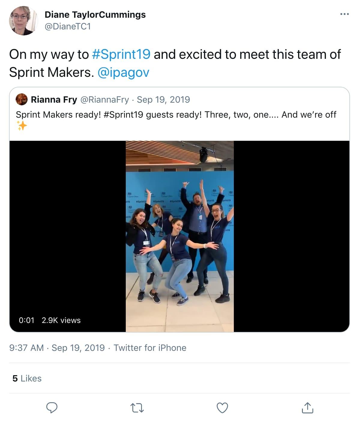 Tweet by DianeTC1 on 9:37 AM · Sep 19, 2019 (tweet content below)