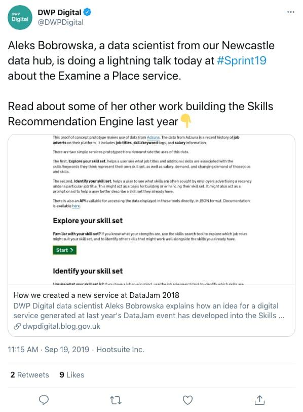 Tweet by DWPDigital on 11:15 AM · Sep 19, 2019 (tweet content below)