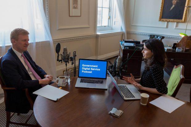 Oliver Dowden being interviewed by Sarah Stewart