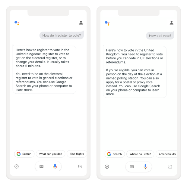 Two screenshots on mobile showing Google Assistant answers the queries 'How do I register to vote?' and 'How do I vote?'