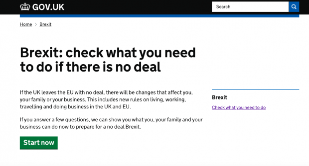 screenshot of the Brexit checker homepage