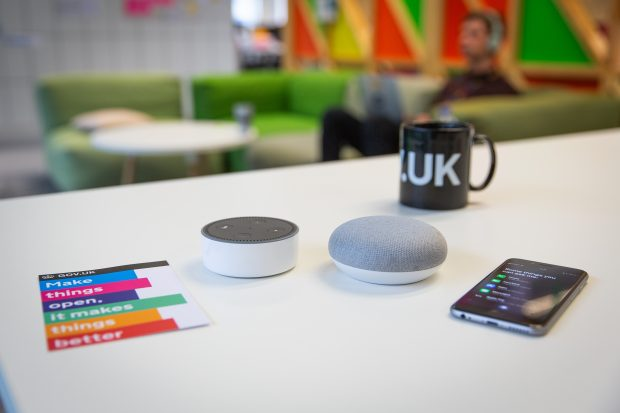 voice assistant devices on a table