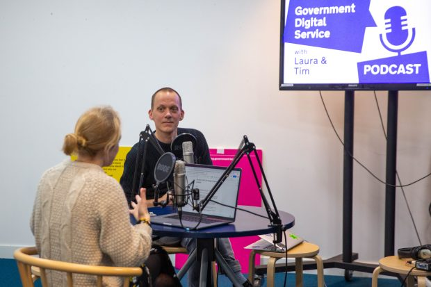 Tim Paul and Laura Stevens record a segment for the Government Digital Service podcast on the GOV.UK Design System