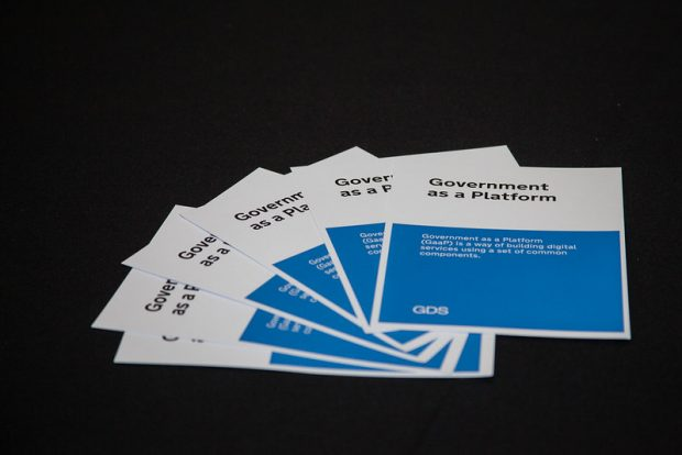 "Five leaflets on a table, titled Government as a Platform. Text reads: ""Government as a Platform (GaaP) is a way of building digital services using a set of common components."""