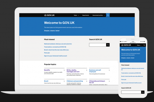 Laptop and smartphone showing a new prototype GOV.UK homepage.