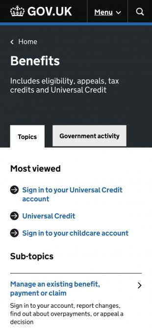 Screenshot of GOV.UK topic in mobile dimensions.