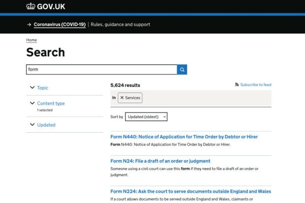 A GOV.UK search page showing 5,624 services matching the term 'form'
